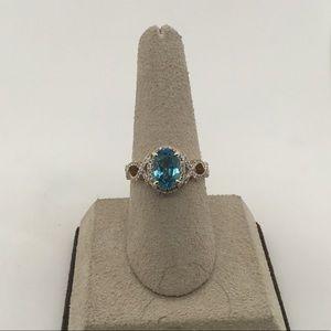 Jewelry - 14K Yellow Gold Blue Zircon & Diamond Ring